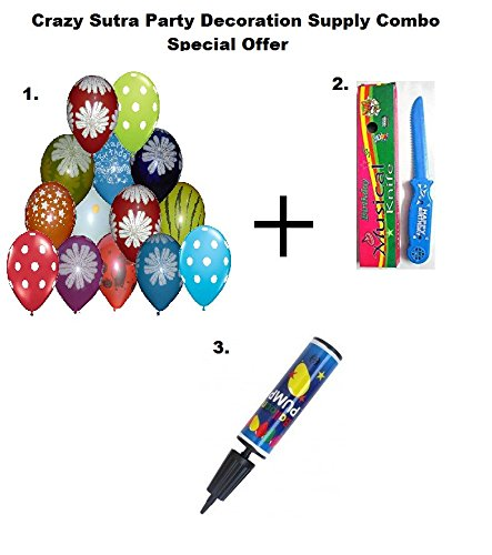 Crazy Sutra Party Decoration Supply Combo Special Offer: Colorful Balloon Multicolor Printed (Pack of 25) + Happy Birthday Musical Knife + Handy Air Balloon Pump/ Balloon Inflator