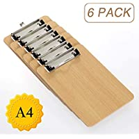 LATERN A4 portapapeles paquete de 6, tableros duros de bajo perfil con agarre de resorte resistente y orificio para colgar oculto, tableros de madera durables para el trabajo de oficina
