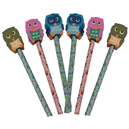 9X Bunt Eule HB Bleistifte mit Eule groß Form Radiergummi Topper. Ideal Party Beutel, Ende der Term Geschenk, Student Geschenk oder Strumpffüller