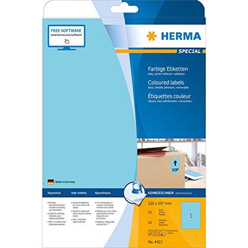 Herma 4423 Farbetiketten ablösbar (210 x 297 mm, Format DIN A4, Papier matt) 20 Stück auf 20 Blatt, blau, bedruckbar, selbstklebend