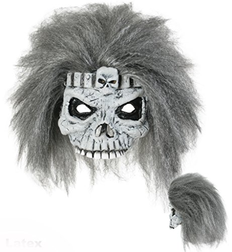 Halloweenmaske Zombie mit Haaren, für Erwachsene, Universalgröße, grau-weiß-schwarz, Unterwelt, Gruselmaske, Kostümzubehör, Gruselparty, Themenabend, Horrormaske, Gesichtsmaske, Narben, Zombiemaske