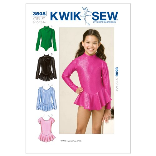 KWIK - SEW PATTERNS K3508 Size 8 - 10 - 12 - 14 Leotards, Pack of 1, White