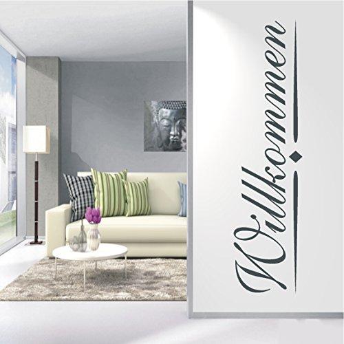 HomeTattoo ® WANDTATTOO Wandaufkleber Willkommen Banner Schriftzug Ornament Flur 443 XL ( L x B ) ca. 180 x 45 cm (schwarz 070)