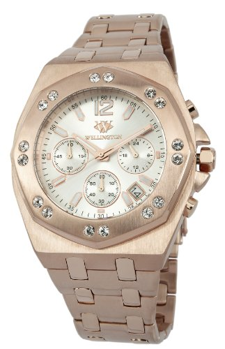 Wellington Darfield Men's Quartz Watch with Silver Dial Chronograph Display and Rose Gold Stainless Steel Plated Bracelet WN511-318