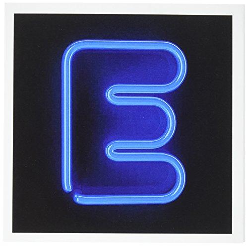 Monogramm Buchstabe E Abstract Neon Blau Beleuchtet–Grußkarten, 15,2x 15,2cm, Set 12(GC _ 155125_ 2)