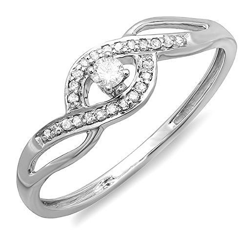 DazzlingRock Collection Anillo Compromiso Oro 10 Quilates
