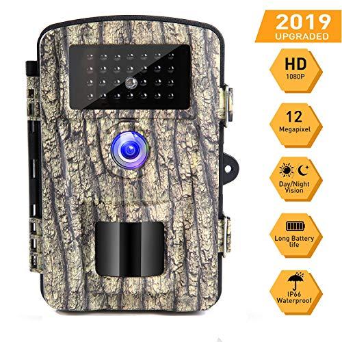 Cenzo Wildkamera mit Bewegungsmelder Infrarot Kamera 12MP 1080P Nachtsicht Wasserdichte Überwachungskamera Jagdkamera mit 0.6 Sekunden Auslösezeit Beutekameras - Infrarot überwachungskamera