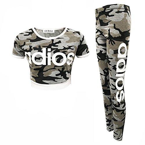 GUBA Mädchen Oberteil und Leggings, 2-teiliges Set, Camouflage, 7-13 Jahre Gr. 13 Jahre, Adios Grey Camouflage - Echte Mädchen Tragen Camo