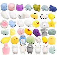 BeYumi 40 Pcs Cute Animal Mochi Squishy, Kawaii Mini Soft Squeeze Toy,Fidget Hand Toy for Kids Gift,Stress Relief,Decoration, 40 Pack