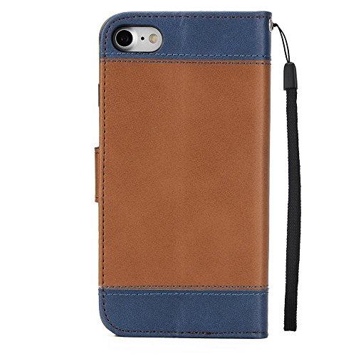 Gemischte Farben Rose Blume matt Premium PU Leder Brieftasche Stand Case Cover mit Lanyard & Card Slots für iPhone 7 ( Color : Gold ) Brown