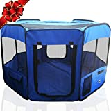 SRI Premium Indoor/Outdoor Cage. Best Exercise Kennel for Your Dog, Cat, Rabbit, Puppy, Hamster Or Guinea Pig. Portable Fabric Pen for Easy Travel (BLUE, BLUE HOUSE)