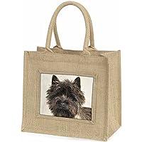 Brindle Cairn Terrier Dog Large Natural Jute Shopping Bag Christmas Gift Idea