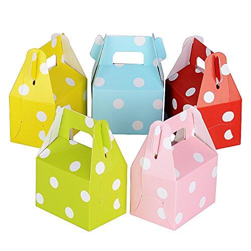 60pz mini scatole colorate per confetti scatoline carta bomboniere portaconfetti come segnaposto per comunione cresima nascita battesimo matrimonio festa (multicolore-dot)