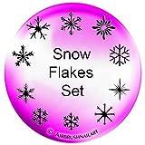 SET: NAILART-AIRBRUSH-SCHABLONEN / Lackier-Schablonen, SELBSTKLEBEND: #SET-512 SNOWFLAKES-SET mit 180 Schablonen!!