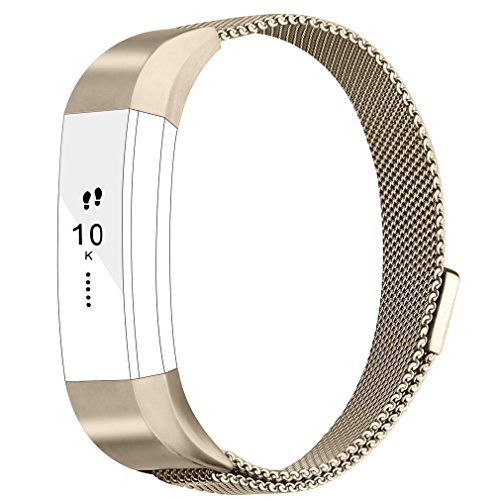 EEEKit Replacement bands Metal Wristband Strap with Magnetic Closure Clasp  for Fitbit Alta/Fitbit Alta HR Fitness Tracker (Champagne Gold)
