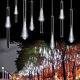 Minger LED Lichterkette 30cm Meteorschauer Röhren 8 Tube 144 LEDs 100V-240V Deko Leuchten LED für Außen Garten Bäume Weihnachten Dekoration EU Stecker (Weiß)