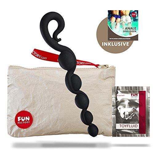 Fun Factory BENDYBEADS schwarz Analkette für Anfänger aus Silikon (inklusive Tasche + Gleitgel)