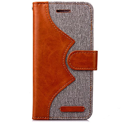 iPhone 6S Plus Hülle Case,Gift_Source [Photo Frame] [Karten Slots] [Double Color Stitching] Luxury Denim Fabric Entwurf PU Leather Magnetic Closure with Stand Flip Hülle Case für iPhone 6S Plus/6 Plus E01-03-Gray160627