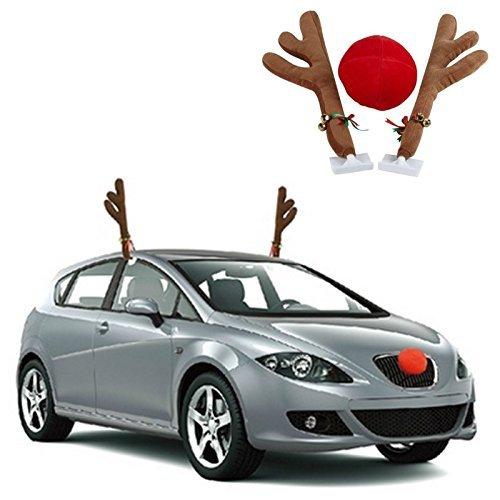 Plush Auto LKW Lastwagen SUV Rentier Melodie Glocke Geweih & rot Rudolph Nase Weihnachten Festive Dekoration Kostüm Anhang Zubehör Xmas propekker Set