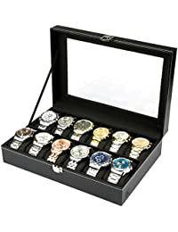 H&S Watch Box Glass Lid 12 Watches Jewellery Display Storage Box Case Bracelet Tray Faux Leather Black