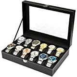 H&S® Glass Lid 12 Watch Jewellery Display Storage Box Case Bracelet Tray Faux Leather Black