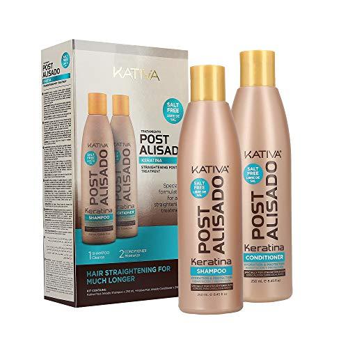 Kativa Post Alisado, Kit Champú y Acondicionador sin Sal, Paquetes de 2 botellas x 250 ml