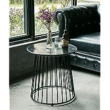 Mesa auxiliar Mesa redonda de hierro Mesa de esquina Moderna mesa de café de la simplicidad Rincón Un poco de escritorio de teléfono Pequeña mesa redonda Amarillo, blanco y negro ( Color : Negro , Tamaño : 50*52cm )