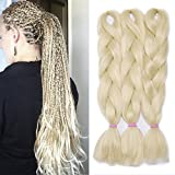 60cm 24' Extension Treccine Capelli Lunghi per Trecce Braids Extension Kanekalon Hair Fibre 100g/Bundle, Confezione da 3, Biondo Decolorante