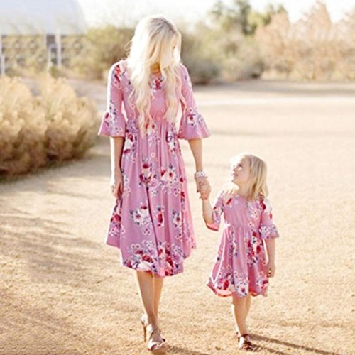 SMILEQ Mom and Me Family Matching Dress Women Girls Half Sleeve Sundress Casual Skirt