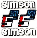 Aufkleber Klebefolien Set Simson (WS) S51-12 Volt Form - Tank und Seitendeckel