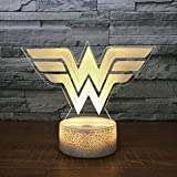 Acrilico Wonder Woman 3D Led Night Light 7 Colori Change Desk Light Action Figure Ragazzi Ragazze Giocattoli Di Natale