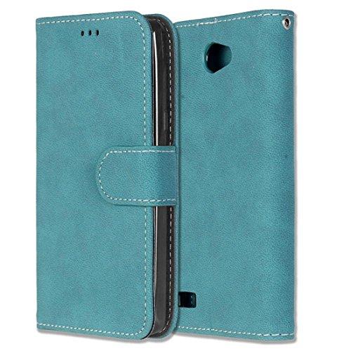 Chreey LG Bello II/Bello 2 Hülle, Matt Leder Tasche Retro Handyhülle Magnet Flip Case mit Kartenfach Geldbörse Schutzhülle Etui [Blau]
