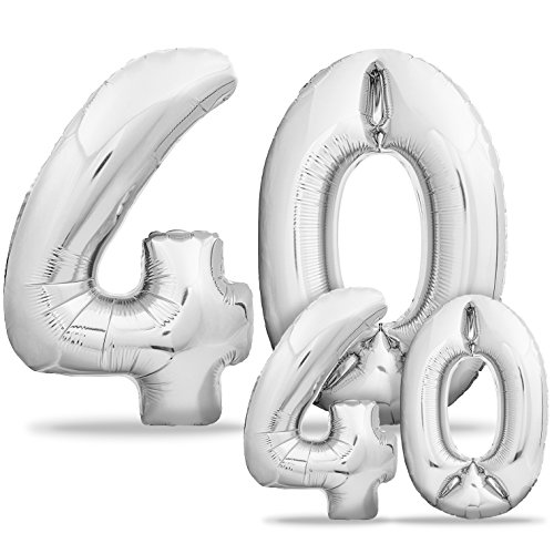 (Luftballons 40 Geburtstag XXL Silber - Riesen Folienballon in 2 Größen 40