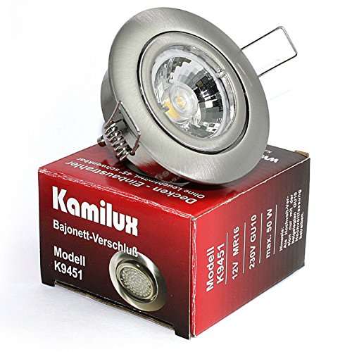 5er Set Einbaustrahler/Spot Bajo in Edelstahl-gebürstet, Halogen oder LED geeignet, inkl. GU10 Fassung und MR16 Fassung, 12Volt oder 230V, ohne Leuchtmittel -
