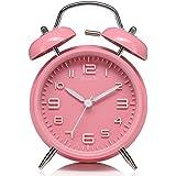 DreamSky Doppelglockenwecker mit Nachtlicht, großes Zifferblatt von 4 Zoll, Analog Quarzwecker mit lautem Alarm,kein Ticken, geräuschlos, Pink