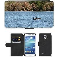 Grand Phone Cases PU Leather Flip Custodia Protettiva Case Cover per // M00141718 Oies rivière Natation Canada Goose Eau // Samsung Galaxy S4 S IV SIV i9500