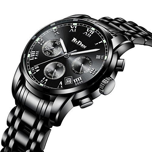 Orologi sportivi di lusso da uomo cronografo impermeabile calendario luminoso orologio al quarzo analogico orologio multifunzione da affari da polso in acciaio inossidabile con quadrante nero