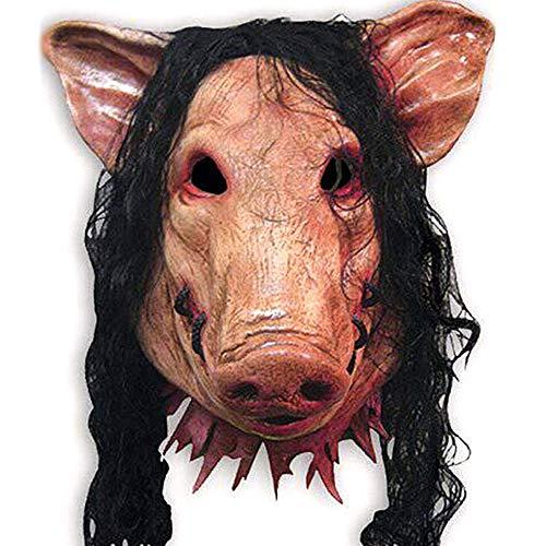 (Halloween Maske Schweinekopf Scary Masken Neuheit Mit Haar Caveira Cosplay Kostüm Latex Festival Liefert DE)