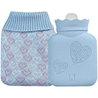 Hot Water Bag, GHeart Silicone Microwave Heating Water Bag 340ml with Knitted Cover, Blue preisvergleich bei billige-tabletten.eu