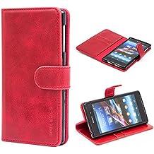 Funda Sony Xperia Z1, MULBESS Funda Piel PU, Soporte Plegable, Ranuras para Tarjetas y Billetes, Estilo Libro, Acceso a Botones, Cierre Magnético - Vino Rojo