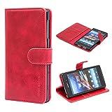 Mulbess Custodia per Sony Z1, Cover Sony Xperia Z1 Pelle, Flip Cover a Libro, Custodia Portafoglio per Sony Z1, Vino Rosso