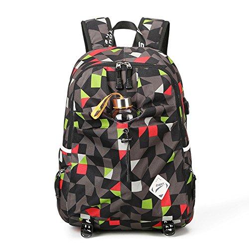 Minetom Unisex Magischer Würfel Muster Schulrucksack Schulranzen Rucksack USB Ladeport Freizeitrucksack Daypacks mit Wasserflasche Fit 15 Zoll Laptop Rot (Red City Bag)