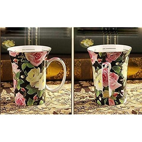 SSBY Tazze di porcellana Bone China, stile pastorale di set, di alta qualità in ceramica di amanti caffè tazza, tazza, tazza da caffè continentale , D