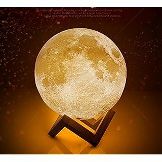3D Drucken Mond Lampe, Addfun®Wiederaufladbar LED Schlafzimmer Nachtlicht Mondlicht Tisch Schreibtischlampe mit Berührungsschalter, 2 Lichteinstellungen und Dimmer,Tolles Geschenk zum Weihnachten und Geburtstag(Durchmesser 13cm)