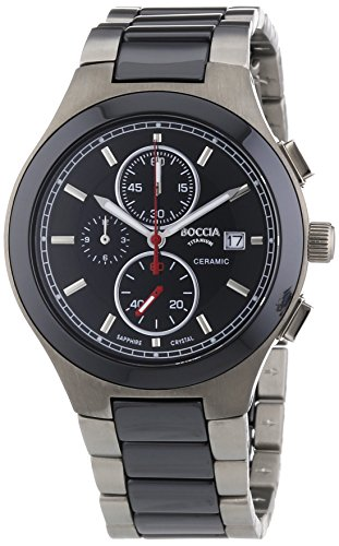 Boccia-Mens-Titanium-Quartz-Watch-with-Black-Dial-Chronograph-Display-and-Multi-Colour-Titanium-Bracelet
