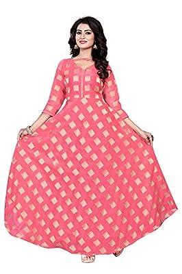 Rangrasiya Corporation Women's Chanderi Cotton Anarkali Gown