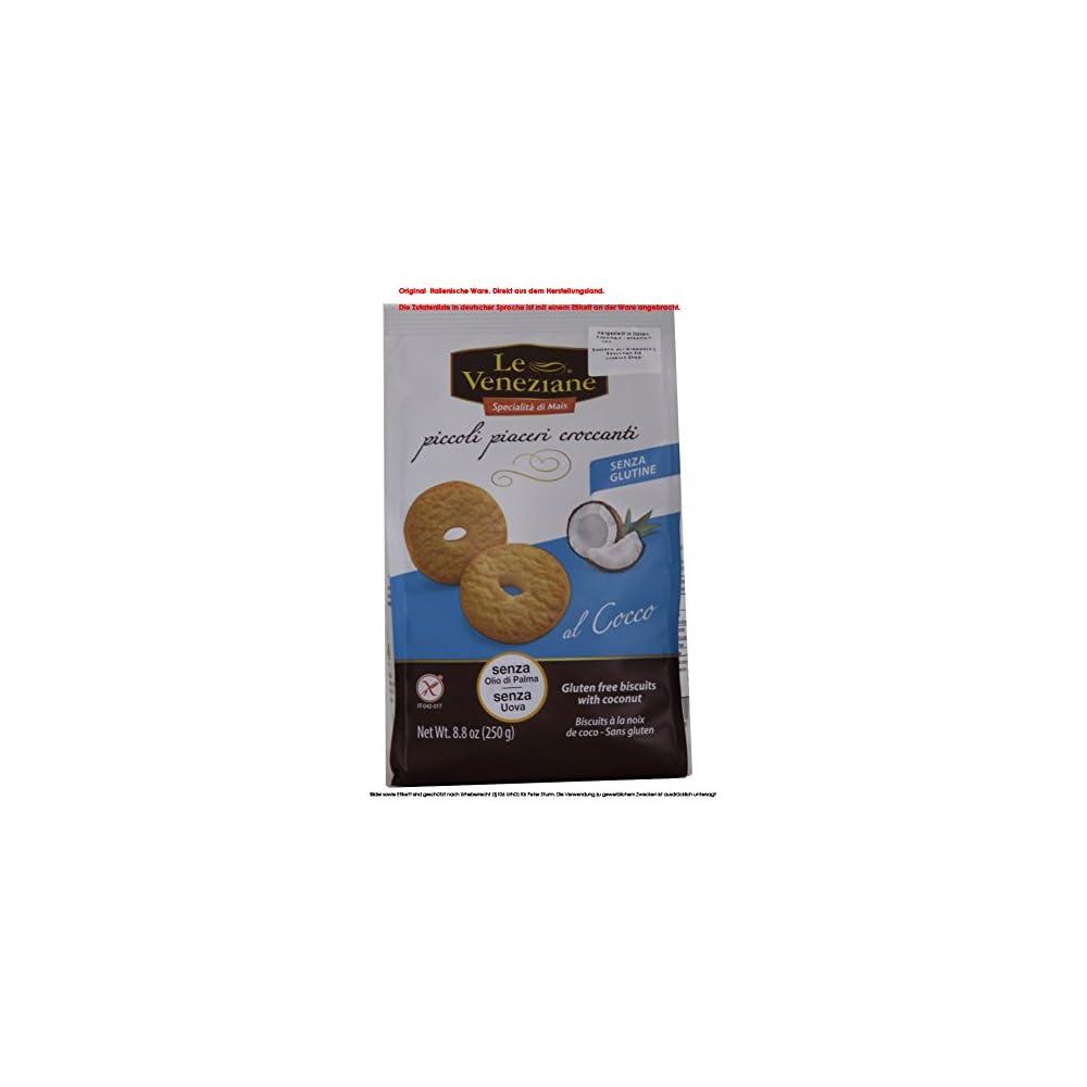 Le Veneziane Biscotti Al Cocco 6 X 250g E Kekse Mit Kokosnuss Glutenfrei Die Kekse Werden Nach Traditionellen Rezepten Mit Maismehl Hergestellt Ohne Palml 1