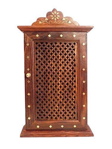Stylla London Wand aufhängen Schlüssel Box Halter/Rack/Schrank mit Haken, Holz, braun, 15x 15x 30cm