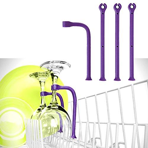 ZAK168Wein Glas Halterung, 4/Set spülmaschinenfest Saver Geschirrspüler Befestigung...