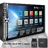 Tristan Auron BT2D7019A Autoradio + OBD 2 Adapter und DAB+ Box, Android 8.1, 7'' Touchscreen Bildschirm, GPS Navi, Bluetooth Freisprecheinrichtung, Quad Core, MirrorLink, USB/SD, OBD 2, DAB, 2 DIN